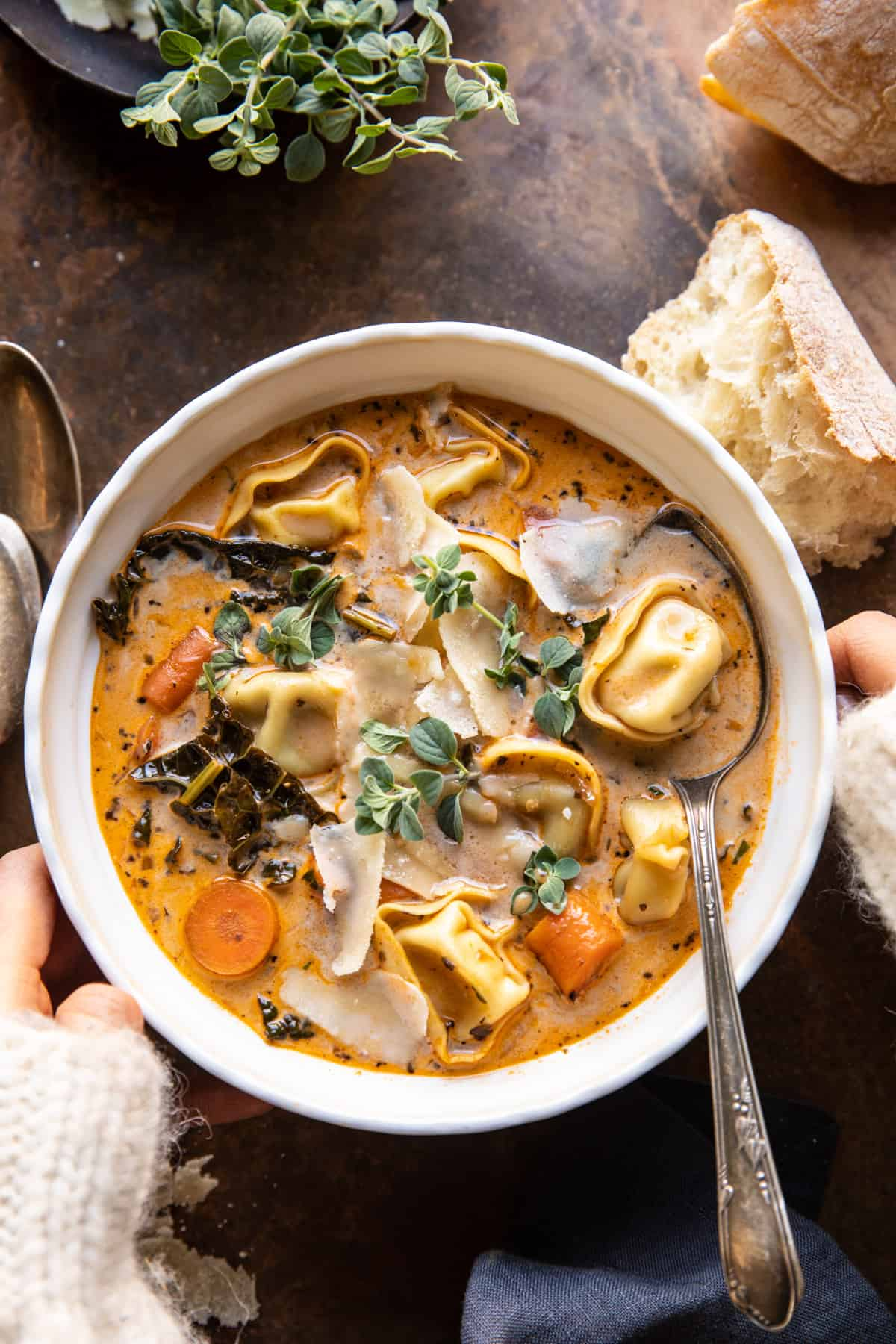 Healthier Slow Cooker Creamy Tortellini Vegetable Soup.