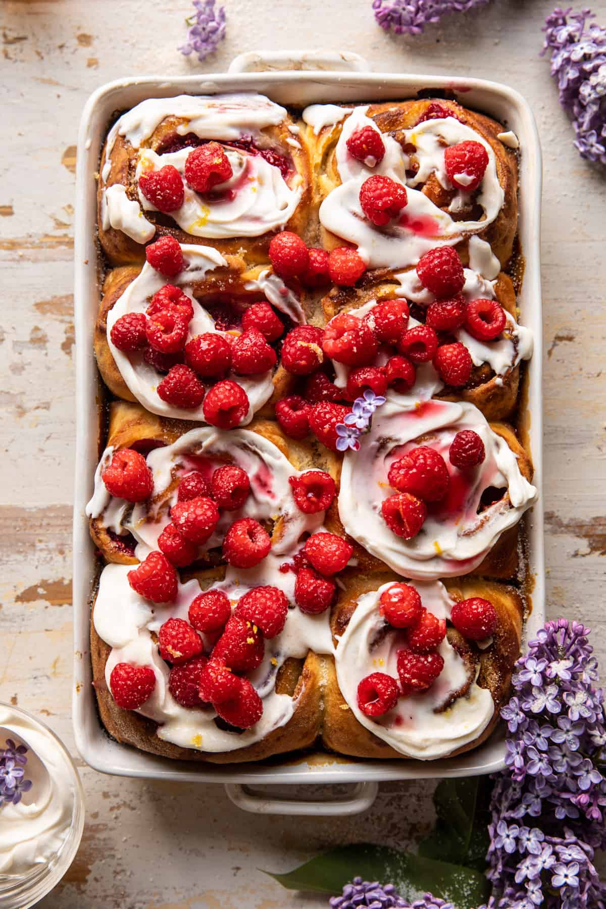 Raspberry Lemon Brioche Rolls with Whipped Ricotta Cream