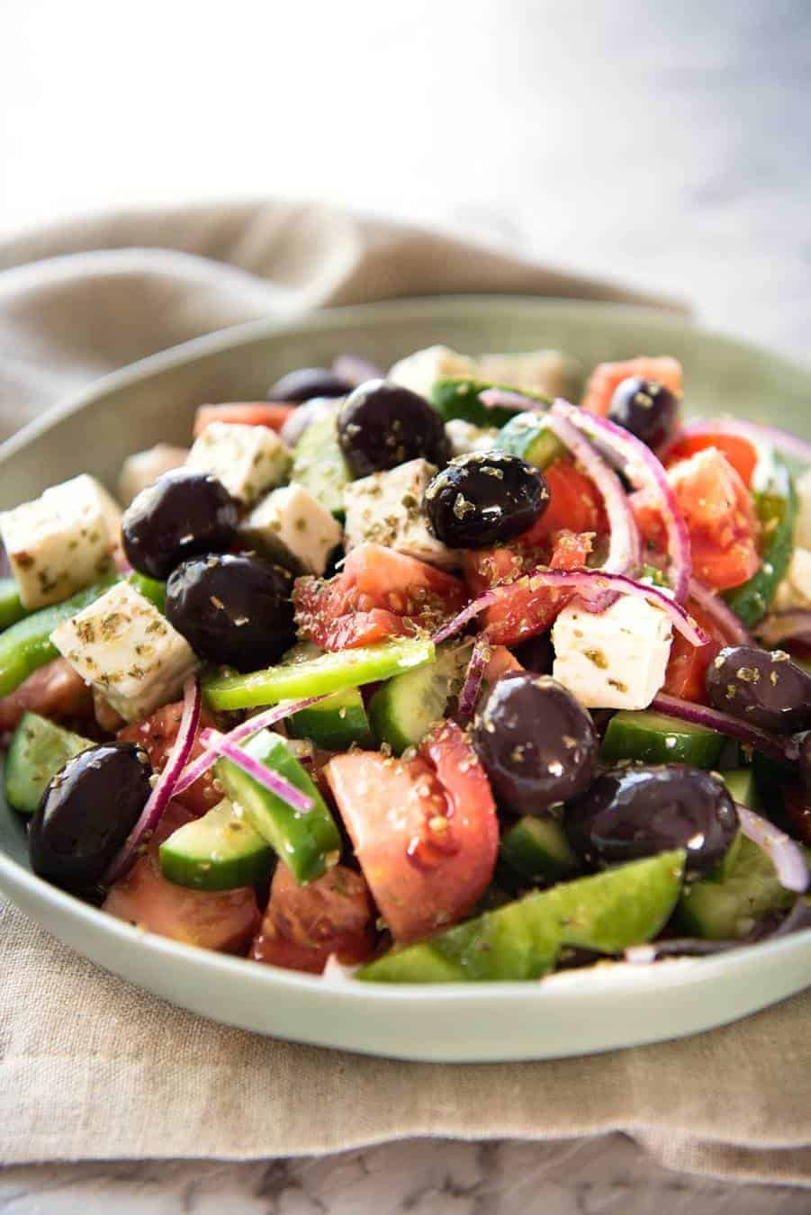 Greek Salad with Homemade Greek Salad Dressing